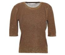 Metallic Ribbed-knit Top Brown