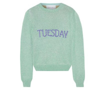 Metallic Intarsia-knit Sweater Mint
