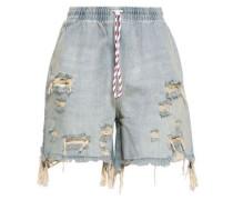 Distressed Faded Denim Shorts Light Denim