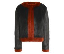 Two-tone faux fur coat
