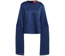 Evelyn Satin And Plissé-crepe Top Navy