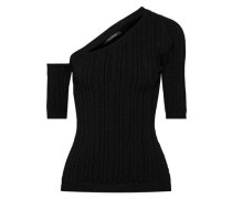 Cutout Ribbed-knit Top Black
