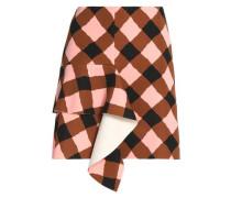 Ruffled gingham neoprene mini skirt