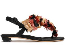 Appliquéd Canvas Sandals Black
