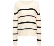 Woman Striped Mélange Knitted Sweater Ivory