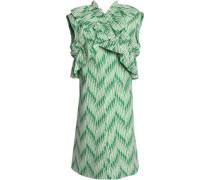 Crossover Ruffle-trimmed Printed Cotton-poplin Dress Mint