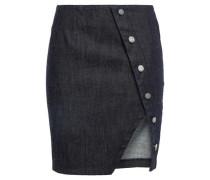Jolene Asymmetric Button-detailed Denim Mini Skirt Dark Denim