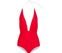 Retro Ruched Halterneck Swimsuit Red