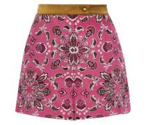 Amber Satin-trimmed Printed Silk Crepe De Chine Shorts Pink
