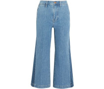 Cropped High-rise Wide-leg Jeans Mid Denim  9