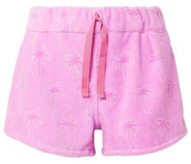 Flocked Cotton-terry Shorts Lavender