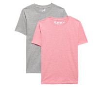 Set Of Two Mélange Cotton-jersey T-shirts Light Gray