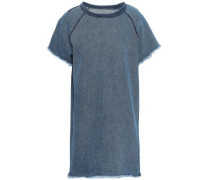 Frayed Denim Mini Dress Mid Denim