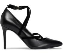 Velvet-trimmed Leather Pumps Black