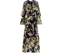 Alice Ruffled Printed Silk Crepe De Chine Maxi Wrap Dress Black