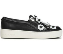 Woman Embellished Leather Slip-on Sneakers Black