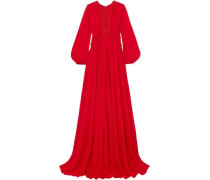 Guipure Lace-trimmed Ruched Georgette Gown Red