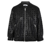 Eyelet-embellished leather bomber jacket