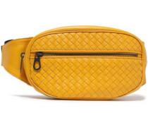 Grosgrain-trimmed Woven Leather Belt Bag Saffron Size --