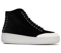 Lace-up Velvet Sneakers Black