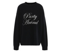 Oversized Jacquard-knit Wool And Cashmere-blend Sweater Black