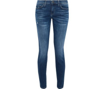 The Stiletto Cropped Distressed Mid-rise Skinny Jeans Mid Denim