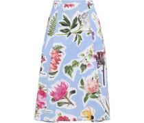 Fluted Floral-print Cotton-blend Skirt Light Blue