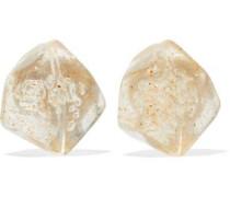 Resin silver-tone clip earrings