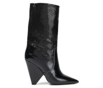 Glossed-leather And Chainmail Boots Black