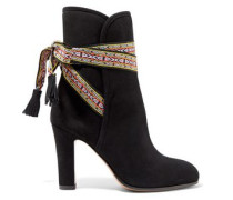 Embroidered-trimmed suede ankle boots