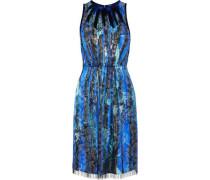 Demetria embellished metallic floral-print silk-blend dress