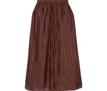 Chaton Gathered Striped Silk-habotai Midi Skirt Burgundy
