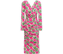 Wrap-effect Printed Stretch-silk Crepe Dress Bright Pink