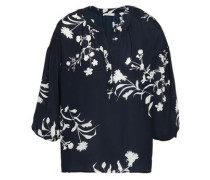 Floral-print Crepe De Chine Blouse Midnight Blue