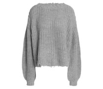 Distressed open-knit sweater