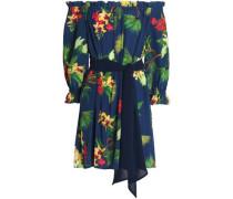 Fru Fru Off-the-shoulder Floral-print Silk Mini Dress Navy
