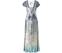 Ruth Cutout Sequined Tulle Gown Silver