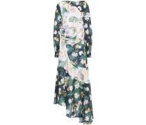 Woman Asymmetric Draped Floral-print Crepe De Chine Midi Dress Dark Green