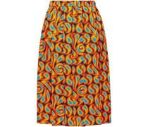 Woman Pleated Printed Silk-twill Skirt Orange