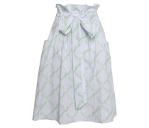 Tie-front Printed Cotton-blend Skirt White