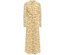 Wrap-effect Floral-print Crepe Midi Dress Pastel Yellow