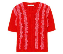 Lace-trimmed Pointelle-knit Cotton Top Red