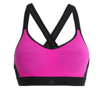 Mesh-trimmed Stretch Sports Bra Fuchsia   A