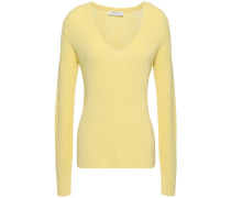 Woman Myrian Pointelle-trimmed Knitted Sweater Pastel Yellow