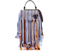 Leather-trimmed Fringed Macramé Shoulder Bag Lavender Size --