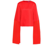 Evelyn Satin And Plissé-crepe Top Red