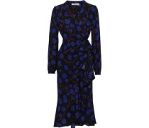 Carla Floral-print Crepe De Chine Wrap Dress Royal Blue