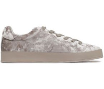 Rb1 Low Leather-trimmed Crushed-velvet Sneakers Neutral