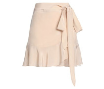 Belted fluted silk-satin mini skirt