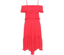 Cold-shoulder Ruffled Plissé-chiffon Dress Red